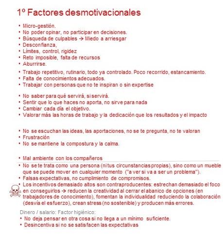 Factores desmotivacionales
